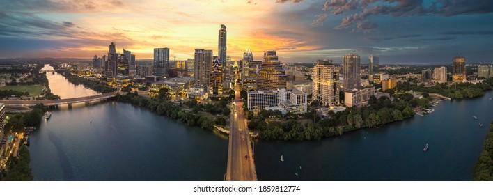 austin texas skyline with sunset pano