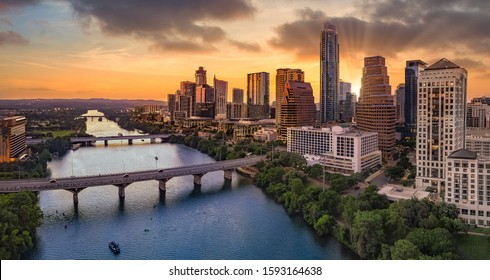 Austin Texas with sunset and clouds