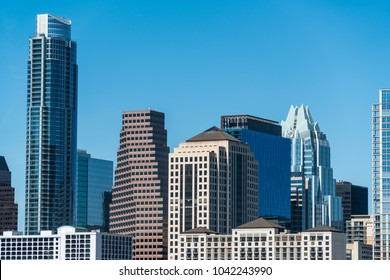 Austin Texas towers close up on downtown skyline cityscape office buildings on a nice perfect sunny day as SXSW starts in March 2018