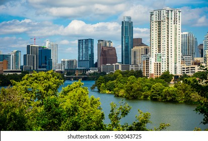 Austin Texas Travis Heights Overlook With Cityscape Skyline bridges and Downtown Highrises on Summer Town Lake