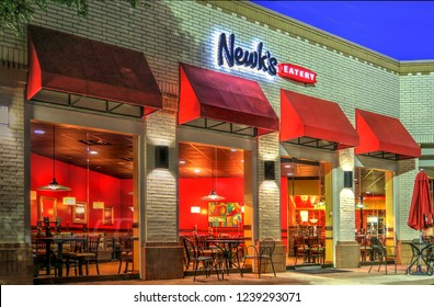 Austin, Texas / United States - July 6, 2016: Newk's Eatery Restaurant in the Arboretum Market Shopping Center at Night