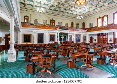 Austin, Texas USA - April 9, 2016: The beautiful interior of the Texas Senate office located in the historic Capitol building completed in 1888 in the downtown district.