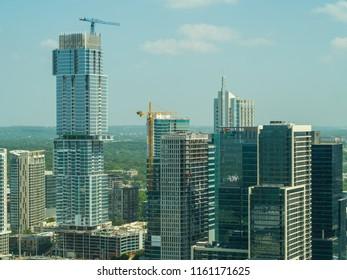 AUSTIN, TEXAS, USA - AUGUST 1, 2018: Aerial image of the Jenga Tower Austin Texas under development august 2018