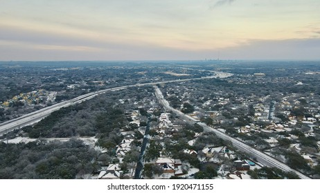 Austin, Texas | USA - February 18 2021: Aerial View of Austin as the Sun Sets on Frozen City Facing North Flying East of Mopac