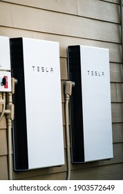 Austin , Texas , USA - January 26th 2020: Tesla Powerwall Home battery storage connecting home energy storage with solar panels and powering the grid with a self sustaining future