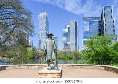AUSTIN, TEXAS, USA - March 17, 2019: Sculpture of Stevie Ray Vaughan at Auditorium Shores in Town Lake Metropolitan Park.  He was a Texas blues guitar legend.