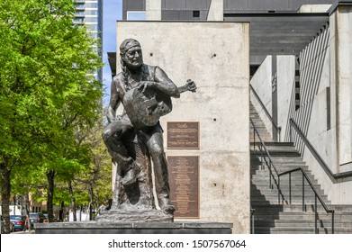 AUSTIN, TEXAS, USA - March 17, 2019: Sculpture of Willie Nelson in Austin Texas.  He is a country music legend born i Abbot, Tx.