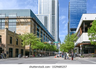 AUSTIN, TEXAS, USA - MARCH 17, 2019: Corner of Guadelope Street and W Second Street in downtown Austin. Austin is the capital city of Texas.