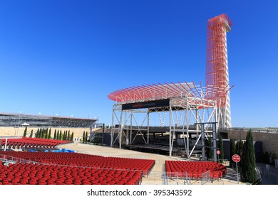 AUSTIN, TEXAS / USA - MARCH 20 2016: The Amphitheater and tower at The Circuit of The Americas in Austin, TX.