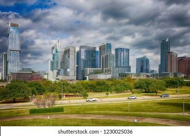 Austin, Texas, USA, November 11, 2018: new downtown buildings on the Colorado River. Austin is the capital of the U.S. state of Texas.