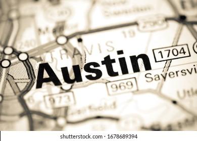 Austin. Texas. USA on a map