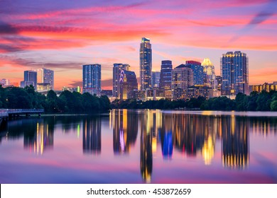 Austin, Texas, USA skyline on the Colorado River.