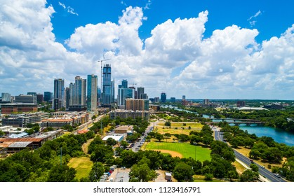 Austin Texas USA summer refreshing blue and green travel destination and the number one best place to live in America. Growing city skyline cityscape with nature town lake aerial drone view