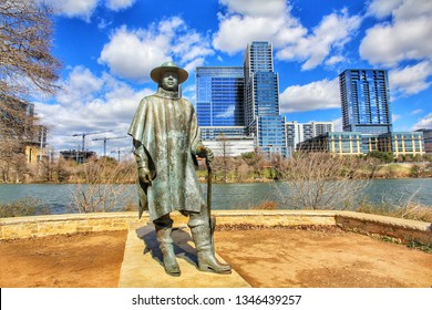 Austin, Texas, USA-23 January 2017:Skyline view of the downtown district along the Colorado River with the statue of the late Stevie Ray Vaughan