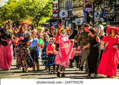 Austin, Texas, USA-26 Oct 2019: 36th Annual Viva la Vida 2019 Parade. Mexic-Arte Museum's Viva La Vida Fest is Austin's largest and longest-running Día de los Muertos (Day of the Dead) festival.