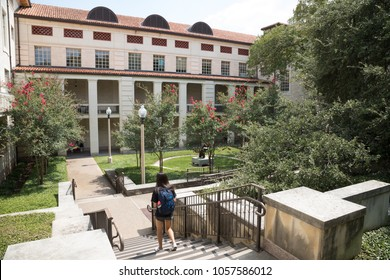 Austin, TEXAS/USA - September 11, 2017: Students walking down stairs outside of Mezes Hall for the College of Liberal Art, at the University of Texas in Austin