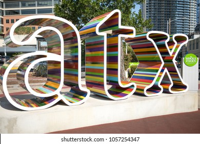 Austin, TEXAS/USA - September 9, 2017: Colorful ATX sculpture sign, designed by Chase Meyers. at Fifth and North Lamar outside of Whole Foods in Downtown Austin