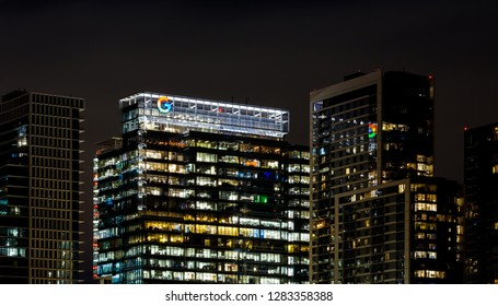 AUSTIN, TX - JANUARY 10, 2019 - Google logo on top of building in downtown Austin, Texas