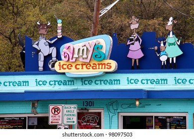 Austin, TX - March 12: SXSW Interactive Conference in Austin. Amy's ice cream is a popular restaurant for conference attendees.