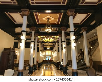 AUSTIN, TX - OCT 13: Driskill Hotel in Austin, Texas, as seen on Oct 13, 2018. It is a Romanesque-style building completed in 1886 and is the oldest operating hotel in Austin.
