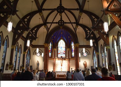 AUSTIN, TX - OCT 13: St Mary Cathedral in Austin, Texas, as seen on Oct 13, 2018. It was listed on the National Register of Historic Places in 1973.