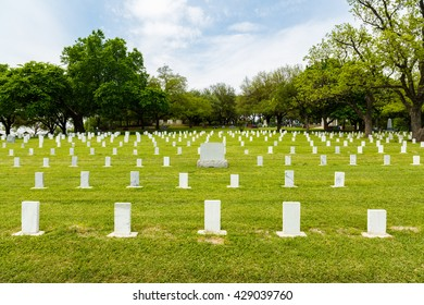 Austin, TX USA - April 8, 2016: Unmarked graves in the Texas State Cemetery outside of downtown Austin.