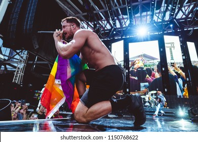 AUSTIN, TX / USA - August 2nd, 2018: Dan Reynolds of Imagine Dragons performs onstage at Austin360 Amphitheater.