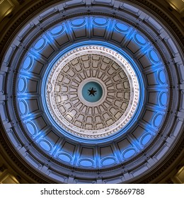 AUSTIN TX USA - MARCH 24, 2016  -   Looking up in the Texas Capital Dome. There are blues, white, blacks and gray in this dome.