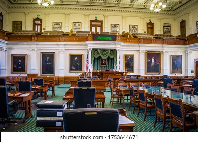 Austin, TX, USA - March 9, 2019: The large meeting hall of Senate Chamber of Texas State Capitol