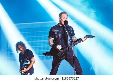 AUSTIN, TX / USA - OCTOBER 5th, 2018:  Kirk Hammett (Left) and James Hetfield (Right) of Metallica performs onstage at Zilker Park during Austin City Limits 2018 Weekend One.