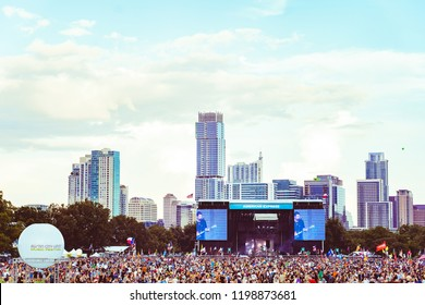 AUSTIN, TX / USA - OCTOBER 6th, 2018:  Crowd at Zilker Park during Austin City Limits 2018 Weekend One.