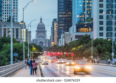 AUSTIN, TX, USA September 27, 2016: Congress Avenue seen from the Congress Bridge with the Texas State Capitol in the backdrop