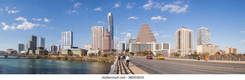 Austin, TX/USA - circa February 2016: Panorama of Downtown Austin From Congress Avenue Bridge