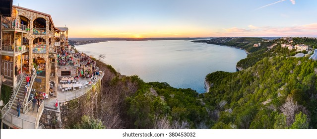 Austin, TX/USA - circa February 2016: Panorama of Lake Travis from The Oasis restaurant in Austin, Texas at sunset