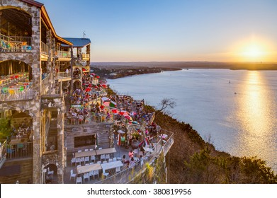 Austin, TX/USA - circa February 2016: Sunset above Lake Travis from The Oasis restaurant in Austin, Texas