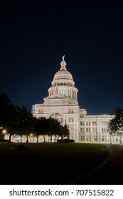 AUSTIN, UNITED STATES - APRIL 2016: Texas state capitol illuminated at night when it's been under restoration on April 2016, in Austin, Texas