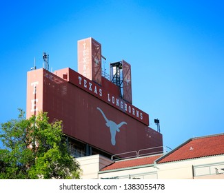 AUSTIN, USA - APR 26, 2019: Darrell K Royal Texas Memorial Stadium at the campus of University of Texas. Texas Longhorns.