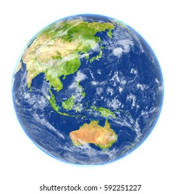 Australasia on planet Earth. 3D illustration with detailed planet surface isolated on white background. Elements of this image furnished by NASA.