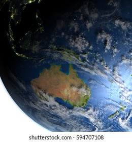 Australia. 3D illustration with detailed planet surface and visible city lights. Elements of this image furnished by NASA.