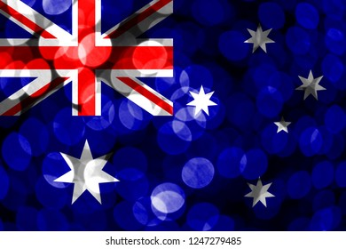 Australia abstract blurry bokeh flag. Christmas, New Year and National day concept flag.