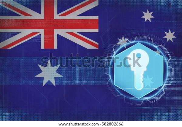 Australia access key. Computer safety concept.