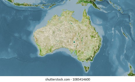 australia area on the satellite a map in the stereographic projection raw composition of raster