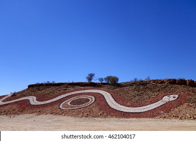 Australia - August 26 2013. Dreamtime Serpent near Birdsville and Betoota, outback Queensland, Australia; a work of art representing pathways travelled through country to connect the river systems.