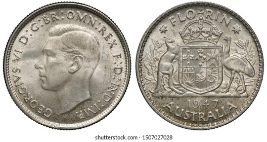 Australia Australian silver coin 1 one florin (two shillings) 1947, head of King George VI left, royal arms, crowned shield with designs supported by kangaroo and ostrich, date below,