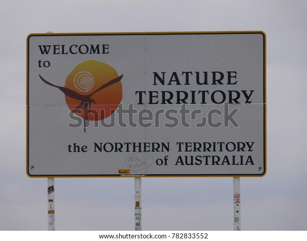 AUSTRALIA, BARKLY HIGHWAY, BORDER QUEENSLAND / NORTHERN TERRITORY,  MAY 17, 2010: Welcome sign to the Northern Territory