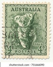 AUSTRALIA - CIRCA 1937: stamp printed by Australia, shows koala.