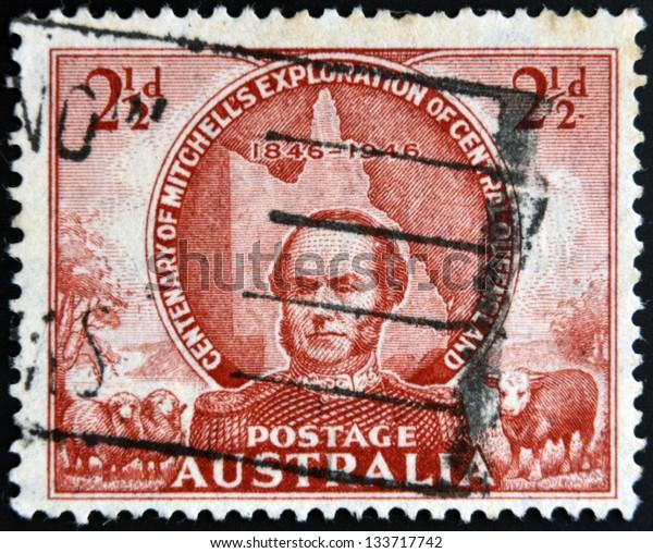 AUSTRALIA - CIRCA 1946: stamp printed in Australia shows Sir Thomas Mitchell, circa 1946