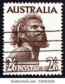 AUSTRALIA - CIRCA 1952: a stamp printed in the Australia shows Aborigine, Indigenous Inhabitant of Mainland Australia and Tasmania, circa 1952