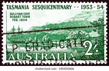 AUSTRALIA - CIRCA 1953: a stamp printed in Australia shows Sullivan Cove, Hobart, 150th anniversary of the settlement in Tasmania, circa 1953