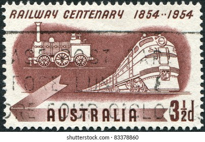 AUSTRALIA - CIRCA 1954: A stamp printed in Australia, is dedicated to Centenary of Australian railroad, shows Diesel and Early Steam Locomotives, circa 1954